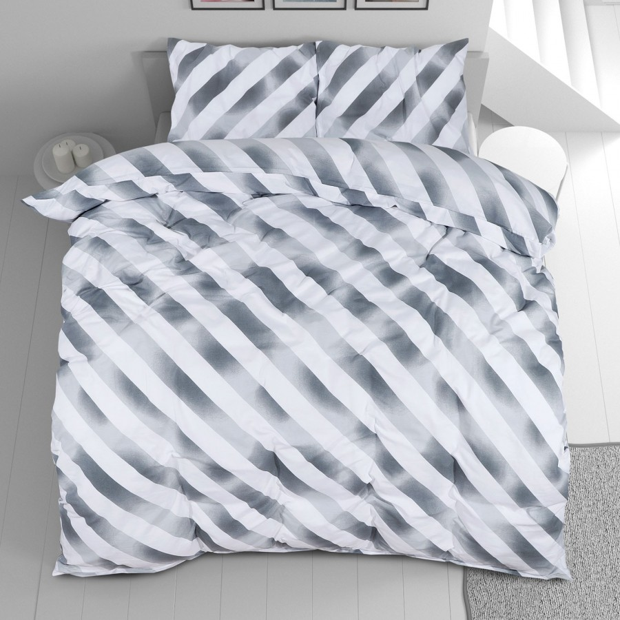 Bombažna posteljnina Svilanit Grey Stripes